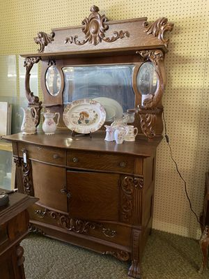 Antique Tiger Wood buffet Side board very ornate for Sale in Claude, TX