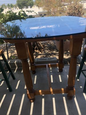 Handmade glass kitchen table with two rotating stools for Sale in Riverside, CA