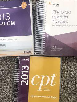 Coding Books - ICD 9 CM & ICD 10 CM CPT for Sale in Sunnyside,  WA