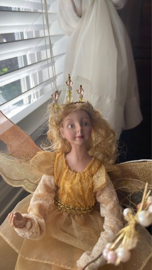 Handmade fairy blonde hair sitting doll with wand for Sale in Denver, CO