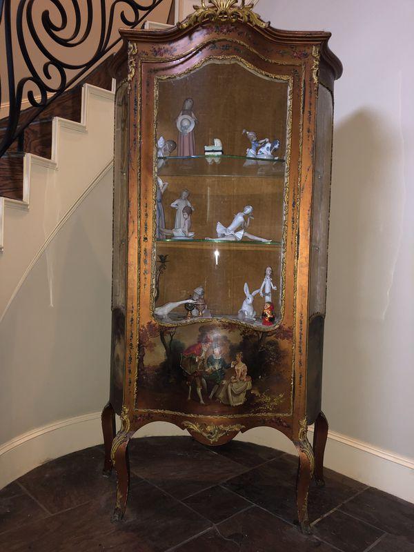 Vernis Martin 19th Century Louis XVI style hand painted Ormolu display cabinet