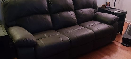 Like New Gray Leather Reclining Couch and Chair. for Sale in Queens,  NY