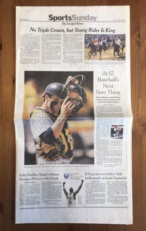 (1 COPY) NEW YORK TIMES: 17 Y/O BRYCE HARPER FEATURED AS FUTURE MLB GREAT for Sale in Compton, CA