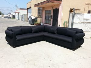 NEW 9X9FT DOMINO BLACK FABRIC SECTIONAL COUCHES for Sale in Ontario, CA