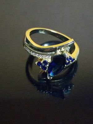 Women's blue sapphire wedding engagement promises ring size7.0 for Sale in Beloit, WI