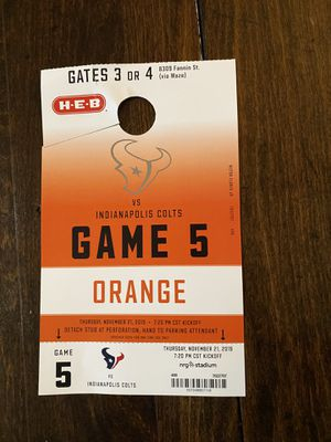 Texans Colts Orange parking pass for Sale in Houston, TX