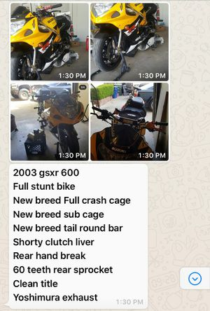 2003 gsxr 600 stunt bike fast! for Sale in Hayward, CA