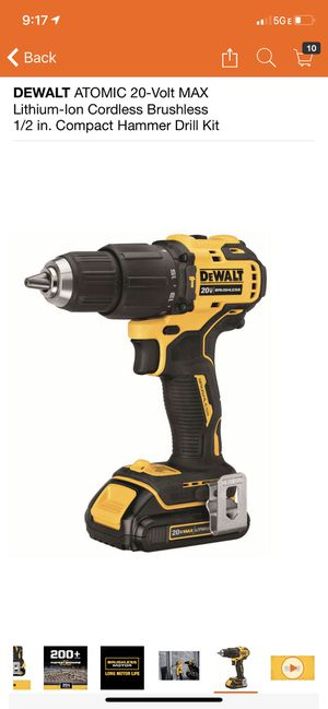 DEWALT ATOMIC 20-Volt MAX Lithium-Ion Cordless Brushless 1/2 in. Compact Hammer Drill Kit for Sale in Philadelphia, PA