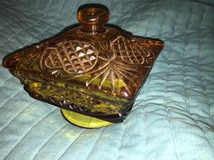 Depression Glass 2 Piece Gold Glass Candy Dish for Sale in Sardinia, OH