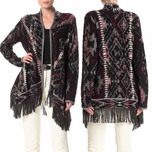 ✨New LUCKY BRAND Fringed Brushed Knit Cardigan Black Multi Womens Size Small SP for Sale in Sugar Land, TX