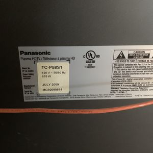 "65"" Panasonic Plasma Tv for Sale in Goodyear, AZ"