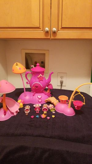 Lalaloopsy tea set House, Slide, Swing, 4 Lalaloopsy dolls. Tiny teapot & 4 cups for Sale in Riverside, CA