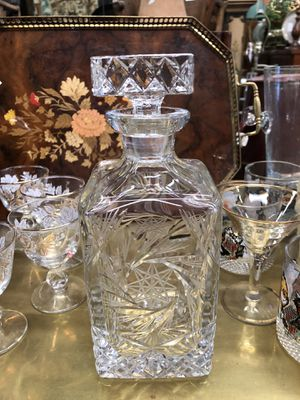 Vintage crystal liquor bottle decanter barware...Christmas gift for him for Sale in San Diego, CA
