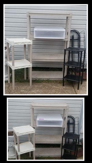 3 Storage Racks (Lg. 4 Shelf, Med. 2 Shelf & Sm. 3 Shelf) & 1 Large Storage Drawer for Sale in Nederland, TX