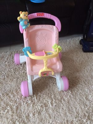 Fisher-Price Brilliant Basics Stroll-Along Walker + stroller for doll for Sale in Chicago, IL
