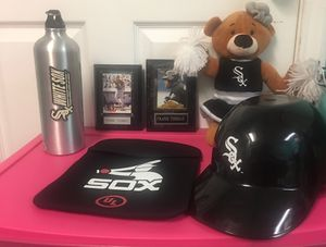 Chicago White Sox MLB Baseball Lot Frank Thomas Plaques Tablet Bag Batting Helmet Cheerleader Plush Stainless Steel Water Bottle. $30 for all. Locate for Sale in Plainfield, IL