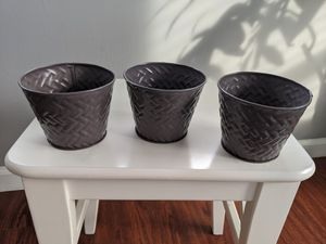 "4"" Tin Plant/Flower Pots (Set of 3) for Sale in Alexandria, VA"