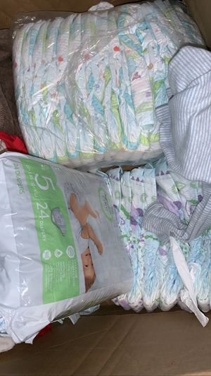 baby diapers size 5 and newborn boy clothes for Sale in Beaverton, OR