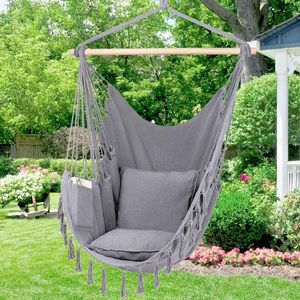 NEW Hammock Chair Hanging Rope Swing Patio furniture backyard balcony - Can hold 330 Lbs - Hanging hardware included. 2 Cushion pillows Included for Sale in Ventura, CA
