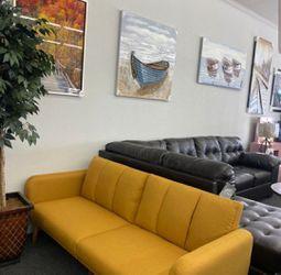 Brand New Mustard Color Linen Futon Sofa Bed for Sale in Fairfax,  VA