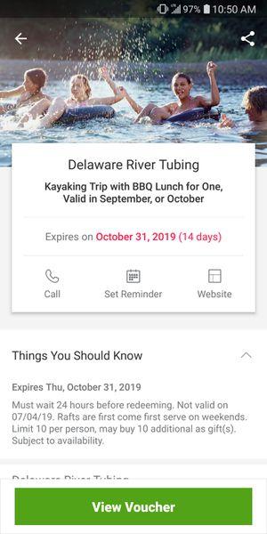 Kayaking ticket for Sale in Newark, NJ