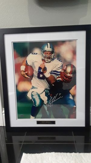 DALLAS COWBOYS HOF TROY AIKMAN AUTOGRAPHED 16 X 20 FRAMED LIMITED UPPER DECK PHOTO for Sale in Clovis, CA