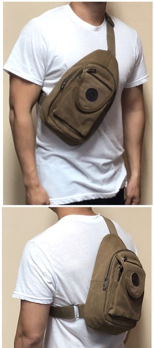 NEW! Brown Canvas Crossbody/Shoulder/Side Bag/Satchel/Pouch For Traveling/Hiking/Trips/Work/School/Everyday Use/Biking/Camping/Gifts $16 for Sale in Carson, CA