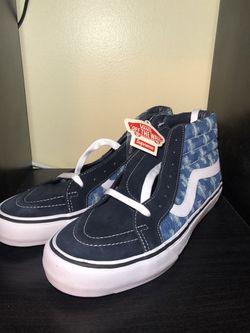 Supreme Hole Punch Denim Blue Vans Sk8-Hi Size 10.5 for Sale in Fairfax,  VA