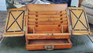 Antique Oak Stationary Tabletop Cabinet with Key for Sale in Fort Defiance, VA
