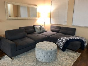 Blue Microfiber Sofa and Chaise for Sale in Miramar, FL