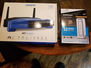 Linksys router and SURFboard modem for Sale in Flat Rock, MI
