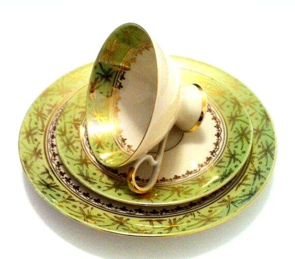 Vintage Bavarian Tea Cup, Saucer and Dessert plate