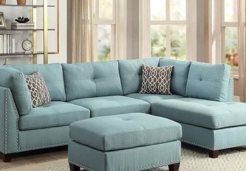 LIGHT TEAL LINEN RIGHT ARM FACING SECTIONAL CHAISE LOUNGE SOFA OTTOMAN TUFTED NAILHEAD ACCENTS - SILLON SECCIONAL for Sale in Rancho Cucamonga,  CA