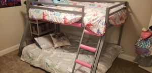 Kid's gray metal twin over full bunkbed for Sale in Wichita, KS