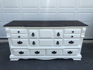 Gorgeous Solid Wood Long Dresser White With Stained Top for Sale in Woodbridge, VA