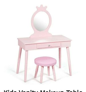 Costway Kids Vanity Makeup Table & Chair Set Make Up pink retails 160 asking 100 for Sale in Downey, CA