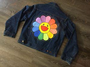 custom made hand painted dark blue Takashi Murakami denim levi jeans jacket sz. M for Sale in Princeton, NJ