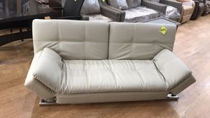 Great white leather convertible couch doubles as bed for only 149.99 at The House Depot!🛋 for Sale in Pasadena, CA