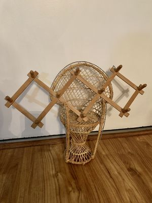 Vintage Wicker Peacock Chair & Accordion Peg Rack for Sale in Winter Park, FL