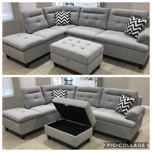 Grey sectional sofa ottoman w/ storage included for Sale in Long Beach, CA