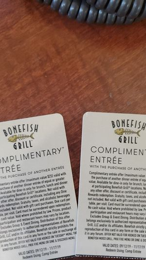 Bonefish grill bogo coupons for Sale in Stuart, FL
