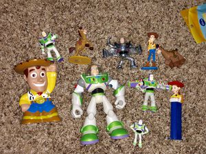 Toy Story Woody, Buzz Iightyear, Jessie, Bullseye figurine, Toys, cake toppers, stocking stuffers lot sale! for Sale in Phoenix, AZ
