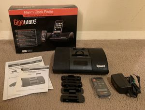IN BOX GIGAWARE ALARM CLOCK RADIO WITH DOCK FOR IPOD OR IPHONE & REMOTE CONTROL INCLUDED for Sale in Chapel Hill, NC