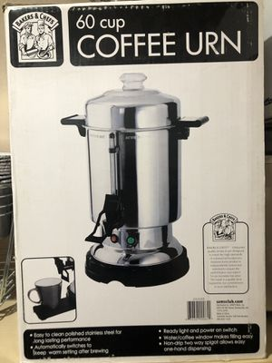 BAKERS CHEFS STAINLESS STEEL 60-CUP COFFEE MAKER for Sale in Las Vegas, NV