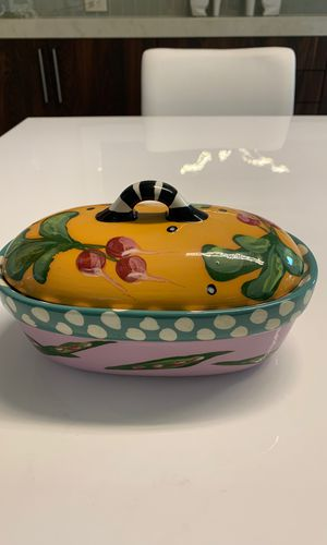 Droll Designs Hans painted dish with lid for Sale in Renton, WA