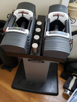Powerblock Sport 9.0 - Adjustable 90lbs Dumbbells with official stand for Sale in Brooklyn, NY