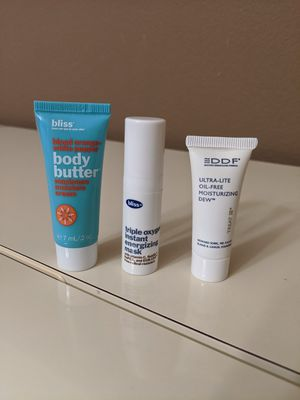 Makeup samples - skincare samples- bliss body butter - bliss face mask - DDF - brand new for Sale in San Diego, CA