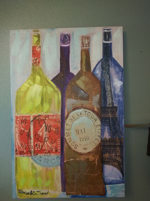 Canvas wine painting for Sale in Pacific, WA