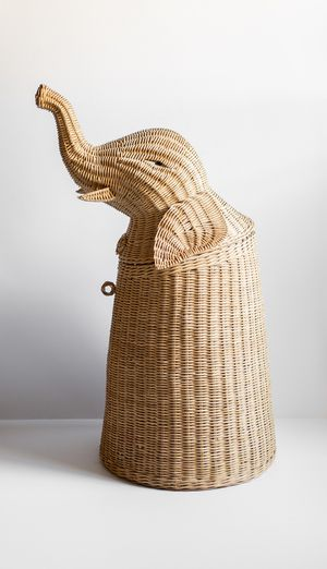 Vintage Wicker Elephant Hamper Laundry Basket - Storage - Kids Room - Home Decor for Sale in Peoria, AZ
