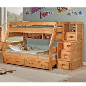 Twin Over Full Bunk Bed With Stairway Chest for Sale in Santee, CA